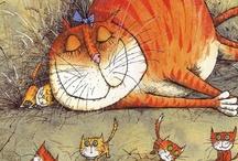 C'EST CHAT LA VIE ! - LIFE IS CATS / le chat vu par les artistes, sélection d'aquarelles surtout, dessins - watercolor, art and cats / by Murielle Dumas