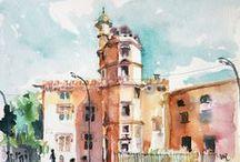 Toulouse inspire les artistes.../Extraits de carnets de voyages et autres œuvres artistiques réalisées à Toulouse par des voyageurs. , par Hôtel Albert 1er Toulouse