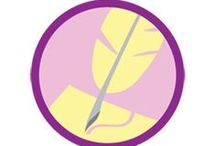 Scribe Badge -- Junior Girl Scout Badge Ideas / Requirements for earning the Scribe Junior Badge--  Step 1: Start with a poem.  Step 2: Create a short story.  Step 3: Use words to share who you are.  Step 4: Write an article.  Step 5: Tell the world what you think. / by Junior Girl Scout Badges