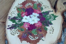 Artist: Flower Felicity / Pressed flowers and wood art.  www.etsy.com/shop/flowerfelicity / by the Basswood Man