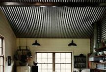 Reclaimed Tin - Corrugated Metal - Design Ideas / Historic Vintage Metal Roofing adds a touch of class and character to any project.  Decorate your ceilings, walls and more.   / by Real Antique Wood