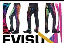 """When Denim Meets Art... / EVISU has teamed with internationally renowned UK artist INSA to unveil an exclusive limited capsule collection, using INSA's own trademark """"graffiti fetish"""" pattern and love of colour to reinterpret the EVISU ethos: Craftsmanship, Design, Modernity.  / by EVISU official"""