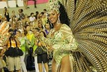 "iSamba / Rainha da Bateria or ""Queen of the Drums"". Beautiful samba passistas, drummers, baianas, and the happiness of carnival. / by felicia glw"