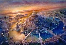 """Atlantis & Under Water Structures / The legend of the lost civilization of Atlantis is recorded by Plato, around 370 B.C.E. He described it as """"a beautiful continent-sized island."""" """"It was a peaceful land, prosperous from its flourishing commerce, highly advanced in knowledge and technology, and powerful in its governmental influence.""""  / by Mrs Dixie"""