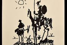 Don Quijote / Don Quixote, is a Spanish novel by Miguel de Cervantes Saavedra. It follows the adventures of Alonso Quixano, an hidalgo who reads so many chivalric novels that he decides to set out to revive chivalry, under the name Don Quixote. He recruits a simple farmer, Sancho Panza, as his squire, who often employs a unique, earthly wit in dealing with Don Quixote's rhetorical orations on antiquated knighthood. / by Tomás Ribas II