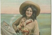 """Collection of Cowgirl Postcards / A collection of 78 postcards and 1 chromolithographic print of cowgirls in various activities, riding horses and broncos, roping, hunting, roundups. Many are identified including """"Calamity Jane."""" Locations include Texas and Oregon. / by CUL Digital Collections, Southern Methodist University"""