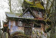Tree Houses~Hobbit Homes~Yurts~Forts~Earth Ships~ Shelters~Caves~ Huts / by Pamela Armas