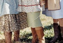 farmgirl style / Comfie, sturdy, and feminine. Skirts, aprons, boots, chunky socks, warm sweaters...  Homemade feel with the occasional chicken.  / by Julie Loudin-Rich