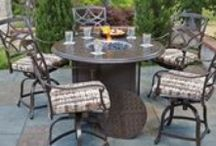 Outdoor Fire Pits / Few things bring people together better than to gather around a cozy fire. Today's fire pits are durable, movable, and come in a wide variety of design styles. You will find them as the focal point in cocktail tables and dining tables. All of our fire pits use refillable propane tanks and some offer the option of a gas line connector for continuous use.  / by Woodard Furniture