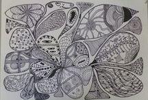 Zentangle bord / Zentangle bord van mij zelf en anderen / by Petra van Wijnbergen