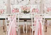 Beautiful floral & decor / Centerpieces Flowers, Candles, Draping, Lighting....  Colors light pink/silver/tiffany blue <3 / by Kelli Cook