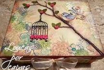 Decoupage and painting - Caixas decoradas com decoupage ou pintura / by Marlize Tapajós de Souza