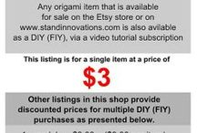 DIY - Origami / An affordable subscription is available at www.standinnovations.com.  Visit Origami Video Tutorials at:https://www.facebook.com/origamivideotutorials for more posts. / by Stand Innovations