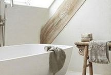 Bath and shower / Light colors, glass, concrete, wood, tiles. / by Tiia Turunen