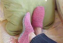 Slipper, socks, hand warmers and boot cuffs to knit, crochet or weave / by Tammy Porter