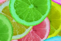 JUICY CITRUS  / Bright PINKS and ORANGE with touches of YELLOW and GREEN Citrus.....delicious & mouth-watering oranges, lemons & limes / by Judy Lehman