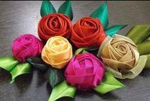 Fabricando flores / flores hechas de tela y lazos / by maluroma