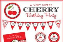 Cherry Party / Cherry party inspiration! • Blog posts: www.bitly.com/cherry_parties • Products: http://www.chickabug.com/cherry-party / by Chickabug
