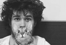 Handsome Men & Cute Cats. / Cats kittens male models actors handsome funny sexy French gay beards scruffy  / by Don Malot