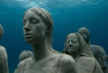 Art-MUSA: A monumental underwater museum / The Underwater Sculpture Cancun and Isla Mujeres Underwater Art Museum is an ambitious project by artist Jason deCaires Taylor who has lowered some 400 permanent life-size sculptures into the water surrounding Cancun to create the largest and most ambitious underwater artificial attractions in the world. / by Rita S Gonzalez Ortega