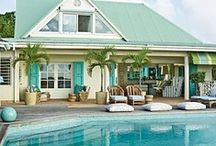 Pool poolside splish splash  / My inlaws have a pool and I can't help but brainstorm how to ramp up the 'curb appeal' of the pool area. / by Carey Pace