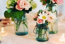 Blue Mason Jars / Blue mason jars are a staple here and Jewel Kade, and we know you love them too! Blue mason jars are the perfect addition to a vintage inspired wedding or home decor. They are a great vintage storage idea, too! / by Jewel Kade