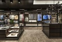 New Canali Boutique Openings / The new Canali boutiques welcomes clients in a warm, intimate ambience characterised by fine colour-contrasting materials, including pale marble, walnut parquet, retro glass and white lacquer. / by Canali