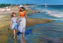 Art - Vladimir Volegov  / Vladimir Volegov is among the best Russian artists of all time. He was born in Russia and he started to paint at the age of three. In 1990 he travelled to Europe where he earned money by painting portraits on the city streets. This experience assisted in perfecting the human form he so deftly creates today in much of his work.  Most of his paintings are rich with warm colors. The topic of his painting is mostly female figures and kids. / by Beach Bee