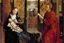 gothic VAN DER WEYDEN 15th century / major altarpieces: St Luke drawing the Virgin / John Baptist - / St Columba - / Bracque Family - / Seven Sacraments - / annunciation - / Crucifiction - / Abegg - / triptychs and diptychs  / by PIETER FLEERACKERS