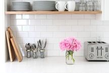{Home Sweet Home}: Kitchen / White kitchens + open layout + subway tile + dark floors + unique lighting + island + eat in dining+ multiple sinks/ovens/dishwashers + innovative details  / by Breanna Harner