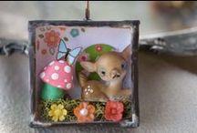 idées en boîtes et petits trésors / altered tins, tin art, matchbox art, shadow box, diorama, decoreted boxes / by les doigts curieux