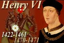 UK_History_Henry VI / Henry VI (King of England 1422-1461 1470-1471, King of France 1422-1453); House of Lancaster; father (predecessor): Henry V; mother: Katherine of Valois; wife: Margaret of Anjou; successor (cousin):Edward IV; as well as: uncle and Lord Protector: John, Duke of Bedford and Humphrey, Duke of Gloucester and Henry Beaufort and Richard Plantagenet, Duke of York; end Hundred Years' War, beginning Wars of the Roses; Red Rose, Lancaster; Jack Cade's rebellion; Battle of Shrewsbury; Shakespeare / by alienora