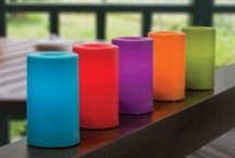 Colorful outdoor flameless candles / Weatherproof candles for year round outdoor use / by Battery Operated Candles