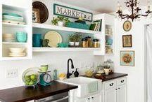 Kitchens / Kitchen Decorating Ideas, Kitchen Counters, Kitchen Appliances, Kitchen Floors, Kitchen Walls, Backsplashes, Faucets, Kitchen Islands / by Tiffany Hewlett {Making The World Cuter}
