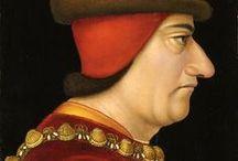 Louis XI (1461-1483) / Né en 1423. 6° roi de la branche des Valois. Héritier du trône de France (1423-1461), Roi de France (1461-1483). Conjoint: Marguerite d'Ecosse 1435-1445, Charlotte de Savoie 1451-1483 / by pascale L.