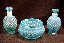 FENTON HOBNAIL ART GLASS / I collect  teal blue opalescent Fenton   / by Leslie M.