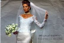 90s Bridal Fashion / The 1990′s started out much like the late 1980′s with wedding dress designs that emphasized the shoulders and upper arms. Man made materials were still a staple as was the use of inexpensive offshore labor which meant that a bride could get a beautiful wedding dress at an exceptional value. Embroidery and beading were also common in 90′s wedding dresses that often included off the shoulder designs. Those dresses in the earlier parts of the decade were big and bold. / by Michelle Ramos