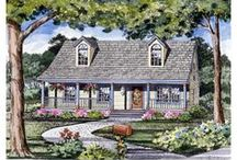 Cape Cod House Plans  / Cape Cod home plans were among the first home designs built by settlers in America and were simple, one- or 11/2-story floor plans with steep rooflines, low eaves, a large central chimney and a central front door with transoms. The Cape style typically has bedrooms on the second floor so that heat would rise into the sleeping areas during cold New England winters. This type of house plan, built all over the New England area, later became known as the Cape Cod style.  / by COOLhouseplans.com