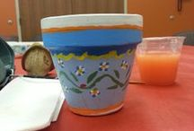Craft Corner - Painted Terracotta Pots / Pictures of the Terrcotta Pots painted at our craft corner program as well as links to ideas on painting pots. / by Kokomo Howard County Public Library