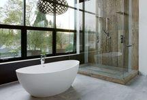home SPACE > bathroom / bathroom. bathrooms. ensuite. master bath. half bath. powder room. interior design. home decorating. architecture. tile. counter. cabinet. shower. bath. spa. decor.  / by brad scoggins