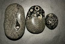 PAINTED STONES (No animals) / abstract stones, faces of people or fiction, flowers, landscapes, Christmas decorations and generally no stone animal / by Zoe Madison