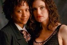 Rent's Maureen & Joanne- Hottest couple in musical theatre! / Devoted to Maureen and Joanne from Jonathan Larson's rock musical Rent, as played by Idina Menzel and Tracie Thoms. One of the hottest couples around! Rent was a huge hit from the moment it debuted and it ran for 12 years from 1996 to 2008, making it the tenth longest-running broadway show in history. Most of my pins are pics from and promos for the film version of Rent (2005) but some pins will be of Idina and the original Joanne, Fredi Walker. Enjoy!       / by Love & Acceptance
