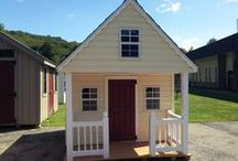 Backyard Playhouses / These are beautiful Victorian and Cabin style playhouses that come in wood, vinyl or log siding.  / by Best in Backyards