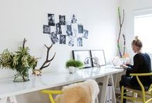 WORK IT : Creative Space / home office, office space, Work spaces, desks, chairs, shelves, books, studio, table, inspiration boards, lighting, office, workspace, floating desk, white, airy, designer, creative / by Amy Ehmann // Design Lotus