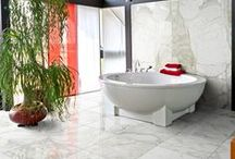 Calacatta Gold Modern Polished / Calacatta Gold Modern Polished marble from Country Floors is a subtle and sophisticated version of an eternally stylish white stone. Long prized for the distinctive veining, so inherent to its visual presentation, Calacatta will also provide a movement and flow that is entirely its own. / by Country Floors