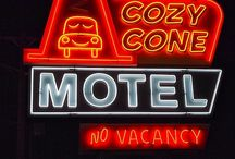 "No Vacancy: Vintage Motel Signs / These were where our family stayed in my youth - no hotel chains for us. Motels like these were clean but inexpensive, had a decent diner or family restaurant nearby, and usually had a great swimming pool. Mom always had quarters for the ""magic fingers.""  / by LauraH"