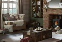 Authentic collection - Into the Country / Inspired by natural materials & the warmth of a winter log cabin, this collection combines thick weaves & softs furs alongside leather & checked designs in a palette of berry reds & winter greys. / by B&Q