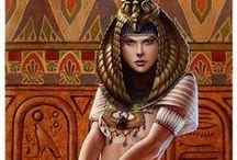Ancient Egypt / Ancient Egypt Daily Scene Orient Queen Pharaoh Goddess Gods Isis Bast Osiris Ra Cleopatra Nefertiti Akenaten Tomb Pyramid Nile river Monument Statue Mummy / by Diana Gentimir