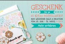Sale-A-Bration 2014! / Juhu! Let's Sale-A-Brate! Bis 31. März könnt ihr euch ab einem Einkaufswert von 60 Euro eines der Sale-A-Bration-Produkte aus dem Flyer aussuchen! Welche Produkte dieses Jahr unter anderem dabei sind, seht ihr hier, den Flyer findet ihr hier: http://bit.ly/stampinup_sale_a_bration_2014 / by Stampin' Up! Deutschland / Österreich