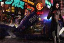 Flying cars, Mega city, Cyberpunk / by Bjarne Graves